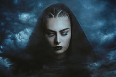 Powerful thunder witch. Dreaming . Dramatic cloudscape Royalty Free Stock Photo