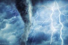 Tornado and lightning. vector illustration