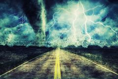 Powerful Tornado On Road In Stormy. royalty free stock photos