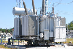 The powerful transformer. On electrical substation Stock Photography