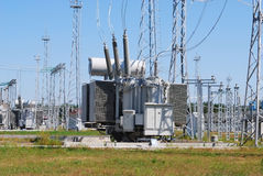 The powerful transformer. On electrical substation Royalty Free Stock Photo