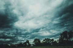 Trees, nature, landscape, sky, clouds royalty free stock photo