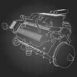 Powerful V8 car engine. The engine is drawn with white lines on a black sheet in a cage.  Stock Photos