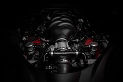 Powerful v8 motor of fast Italian car. Very powerful v8 motor of fast Italian car royalty free stock photography