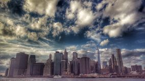 A powerful view of Lower Manhattan - NEW YORK CITY - NY. Manhattan is the most densely populated of New York City's 5 boroughs. It`s mostly made up of royalty free stock image