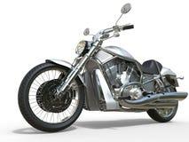 Powerful Vintage Motorcycle - White. Isolated on white background Royalty Free Stock Image