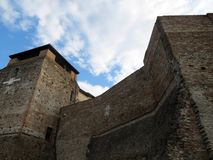Powerful walls and towers of the medieval fortress of Malatesta stock photo