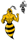 Powerful wasp or yellow hornet. In cartoon style for mascot vector illustration