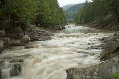 Powerful waterfall Probiy close up in Yaremche, Ukraine Royalty Free Stock Photo