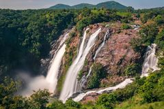 Powerful Waterfalls in Shivanasamudra, Karnataka. Best time to visit and experience the waterfalls is during or right after the monsoon stock image