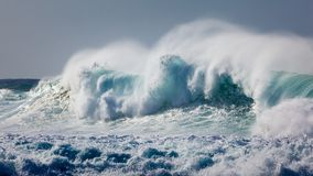 Powerful Wave Breaking near Shoreline Stock Photography