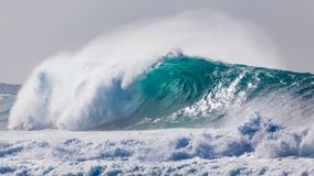 Powerful Wave Breaking near Shoreline Stock Image