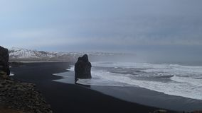 Powerful waves at black Sand Beach in Iceland 4k stock footage