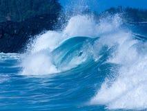 Powerful waves break at Lumahai Beach, Kauai Royalty Free Stock Images