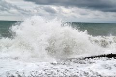 Powerful waves of the sea breaking stock images