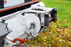 Powerful winch jack in front emergency fire truck Stock Photography