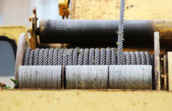 powerful winch on the special equipment construction cranes. Stock Photo