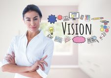 Powerful Woman with Vision text with drawings graphics. Digital composite of Powerful Woman with Vision text with drawings graphics Royalty Free Stock Photo