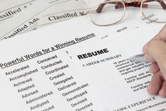 Powerful word for winning a resume Royalty Free Stock Photography