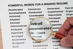 Powerful words for a winning  resume Royalty Free Stock Photos