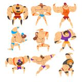 Powerful wrestling fighter characters set, professional wrestler of recreational sports show vector Illustrations on a. Powerful wrestling fighter characters set Royalty Free Stock Photo