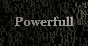 Powerfull - 3D rendered metallic typeset headline illustration. Can be used for an online banner ad or a print postcard Stock Photography