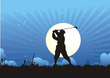 Powerfull golfer. Illustration about powerfull golfer with the sunrise background Stock Photo