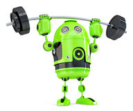 Powerfull Green Robot. Technology concept. Isolated. Contains clipping path. Royalty Free Stock Photography