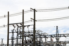Powerhouse with cables and switches the high voltage insulators Stock Photo