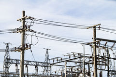 Powerhouse with cables and switches the high voltage insulators Stock Photography