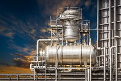 Powerhouse pipe system and sky Stock Photos