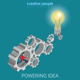 Powering idea business cogwheel mechanism flat isometric vector Stock Photo