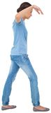 Powerless brunette in jeans and tshirt. On white background Royalty Free Stock Photography