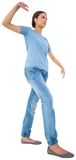 Powerless brunette in jeans and tshirt. On white background Royalty Free Stock Images