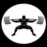 Powerlifter сидя на корточках тяжелые весы иллюстрация вектора