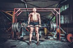 Powerlifter con le forti armi che sollevano i pesi Fotografia Stock