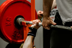 Powerlifter exercise bench press. In powerlifting competitions Royalty Free Stock Images