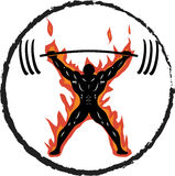 Powerlifter On Fire Snatch Royalty Free Stock Photography