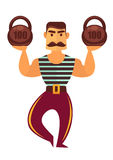 Powerlifter with mass isolated on white. Athletic man of muscle. Power with heavy weight. Strong man working in circus in striped sleeveless sports shirt and royalty free illustration