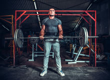 Powerlifter mit den starken Armen, die Gewichte anheben Stockfoto