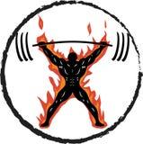 Powerlifter no ato de agarrar do fogo ilustração stock