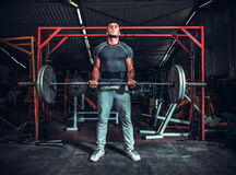 Powerlifter with strong arms lifting weights Royalty Free Stock Images