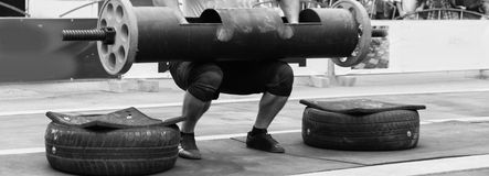 Powerlifting competitions in the street stock photos