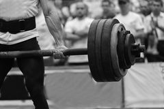 Powerlifting competitions in the street stock image