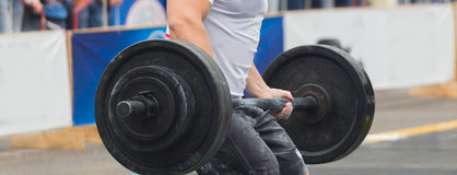 Powerlifting competitions in the street Royalty Free Stock Photo