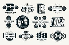 Powerlifting emblems and badges. Graphic design for t-shirt. Black print on white background Royalty Free Stock Photography