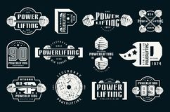 Powerlifting emblems and badges. Graphic design for t-shirt. White print on black background Stock Photo