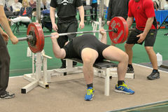 Powerlifting event - bench press lift Stock Images