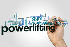 Powerlifting word cloud. Concept on grey background Stock Images