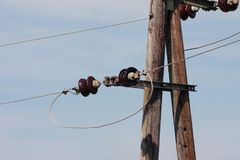 Powerline on blue sky Royalty Free Stock Photography